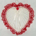 decorated red abaca heart