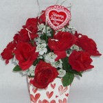 Valentine's Day box arrangement with red silk roses