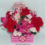 mini pink wooden crate decorated with silk flowers for Valentine's Day