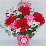mini metal pail for Valentine's Day with red and pink silk roses