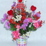 mini metal pail decorated with hearts and flowers for Valentine's Day
