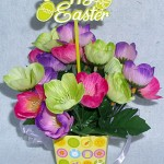 yellow box arrangement for Easter using pink, purple, yellowsilk poppies
