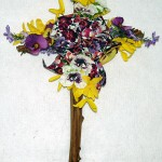 spring grapevine cross 4 with forsythia and pansies
