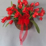 wall pocket basket for spring with red tulips