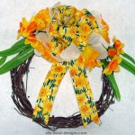 Spring grapevine wreath with orange daffodils