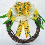 Spring Grapevine Wreath with white and yellow daffodils