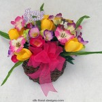 Spring vine wall pocket basket with crocus and poppies